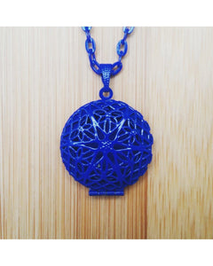 Kids/Girls/Boys Dark Ocean Blue Color Sunburst Round Hand Painted Locket Pendant Essential Oil Aromatherapy Diffuser Necklace K014 - Essentially Elegant