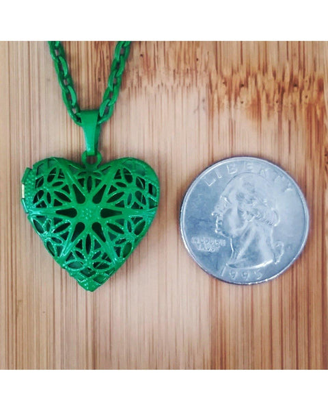 Girls/Boys/Kids Lime Green Color Sunburst Heart Hand Painted Locket Pendant Essential Oil Aromatherapy Diffuser Necklace K002 - Essentially Elegant