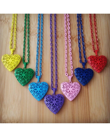 Hand Painted Mixed Colors Distributor Bulk Wholesale Seven (7) Piece Heart Locket Essential Oil Aromatherapy Diffuser Necklaces B090 - Essentially Elegant