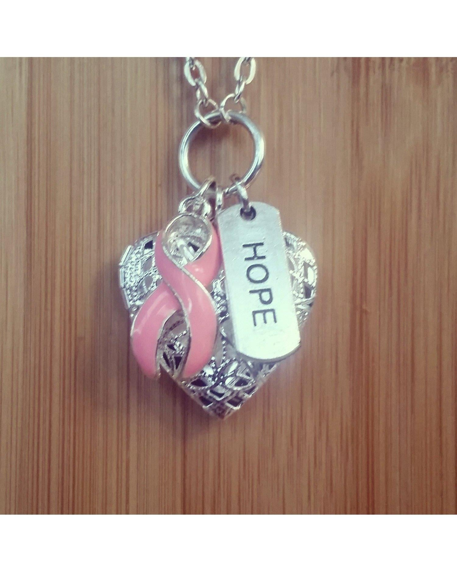 Pink Ribbon Breast Cancer Awareness Hope Inspired Silver Heart Locket Essential Oil Aromatherapy Diffuser Pendant Necklace C035 - Essentially Elegant