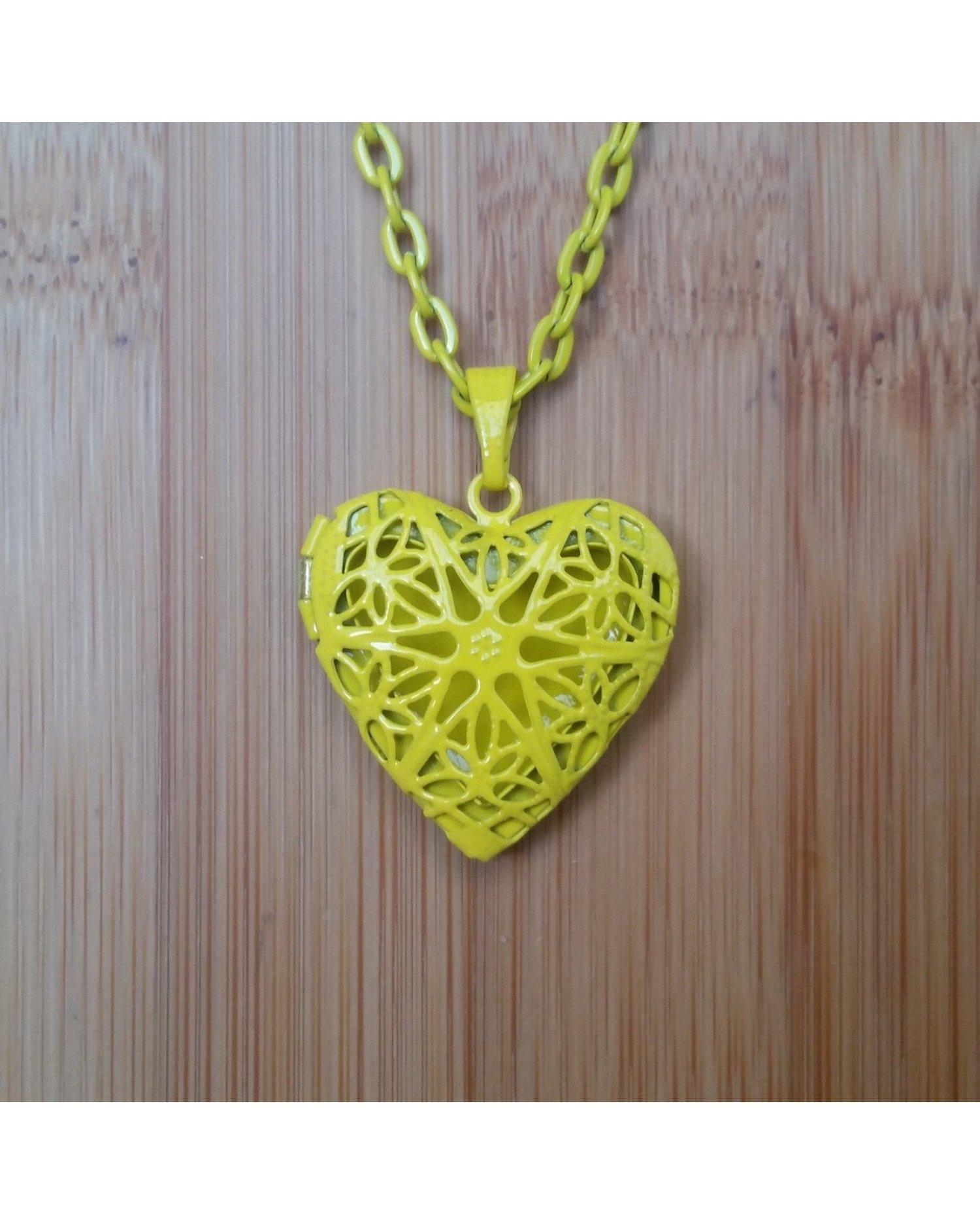 Girls/Kids Lemon Yellow Color Sunburst Heart Hand Painted Locket Pendant Essential Oil Aromatherapy Diffuser Necklace K026 - Essentially Elegant