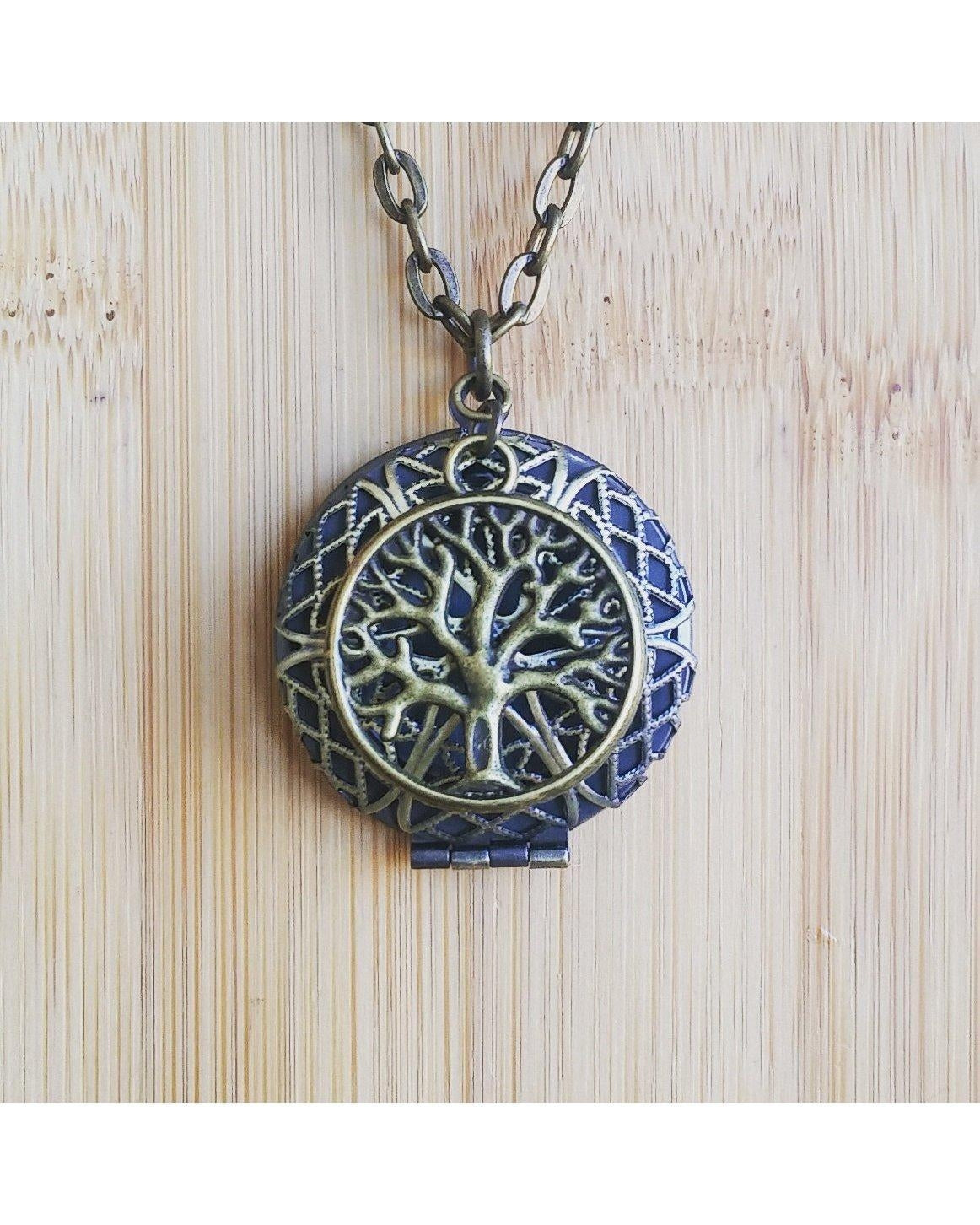 Tree of Life Inspired Antique Bronze Sunburst Round Essential Oil Aromatherapy Diffuser Locket Pendant Necklace C019 - Essentially Elegant