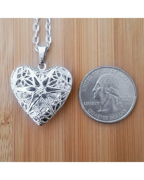 Platinum/Matte Silver Color Sunburst Heart Locket Pendant Essential Oil Aromatherapy Diffuser Necklace A058 - Essentially Elegant