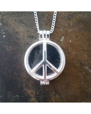 Shiny Silver Color Peace Sign Design Locket Pendant Essential Oil Aromatherapy Diffuser Necklace A026 - Essentially Elegant
