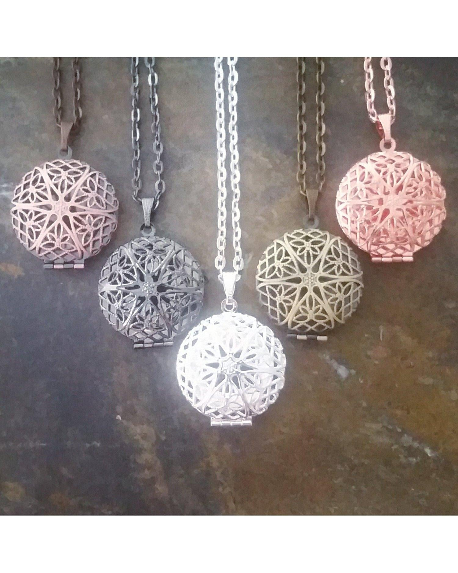 Mixed Colors Sunburst Round Distributor Bulk Wholesale Five (5) Piece Locket Pendant Essential Oil Aromatherapy Diffuser Necklaces B096 - Essentially Elegant