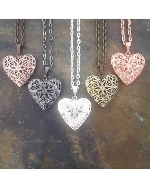 Mixed Colors Distributor Bulk Wholesale Five (5) Piece Sunburst Heart Locket Pendant Essential Oil Aromatherapy Diffuser Necklaces B094 - Essentially Elegant
