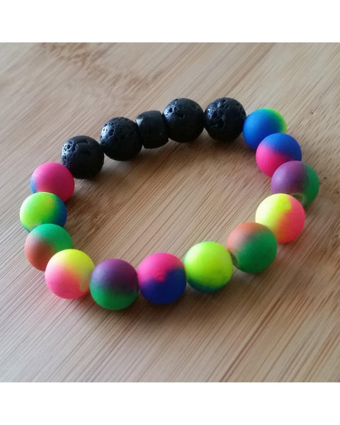 Girls/Kids/Boys Neon Mixed Color Bead and Lava Rock 10mm Bead Essential Oil Aromatherapy Diffuser Stretch Bracelet K041 - Essentially Elegant