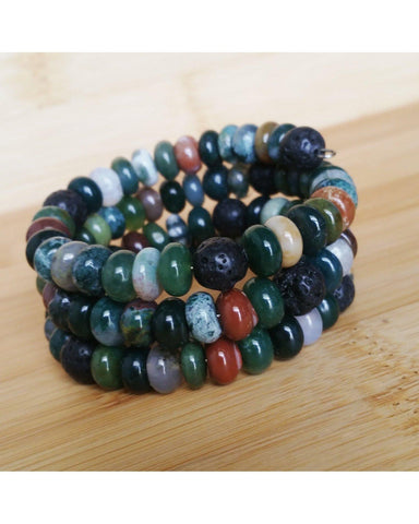 Indian Agate Mixed Color Rondelle Semi-Precious Gemstone and Lava Rock Bead Wire Wrap Style Essential Oil Diffuser Bracelet P007 - Essentially Elegant