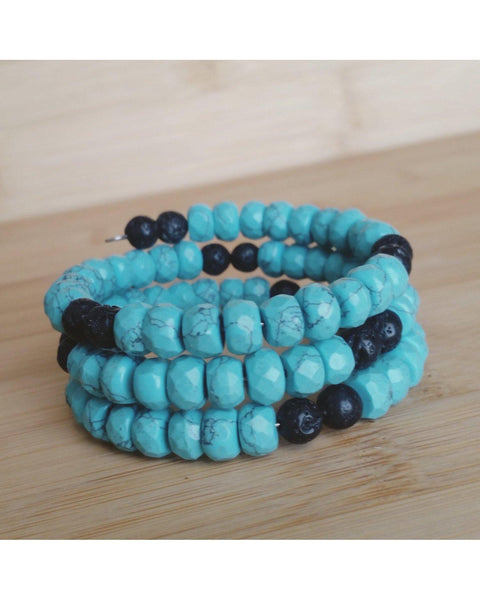 Turquoise Howlite Faceted Rondelle SemiPrecious Gemstone and Lava Rock Essential Oil Diffuser Stainless Steel Memory Wire Wrap Bracelet P031 - Essentially Elegant