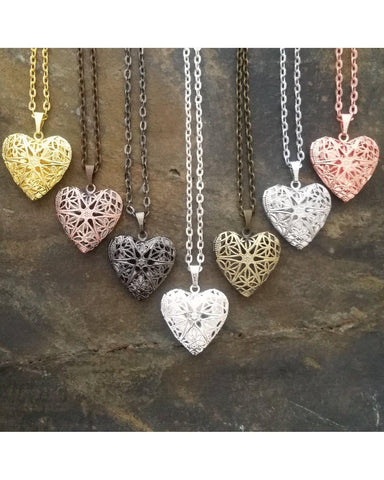Mixed Colors Distributor Bulk Wholesale Seven (7) Piece Sunburst Heart Locket Pendant Essential Oil Aromatherapy Diffuser Necklaces B099 - Essentially Elegant