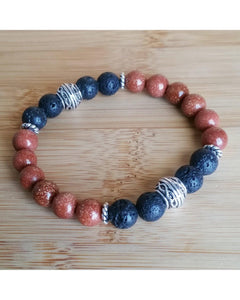Sandstone Semi-Precious Gemstone and Lava Rock 8mm Bead Essential Oil Aromatherapy Diffuser Stretch Bracelet P039 - Essentially Elegant