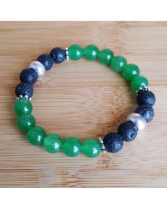 Green Aventurine Semi-Precious Gemstone and Lava Rock 8mm Bead Essential Oil Aromatherapy Diffuser Stretch Bracelet P044 - Essentially Elegant