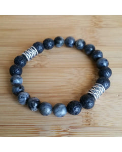 Labradorite Semi-Precious Gemstone and Lava Rock 8mm Bead Essential Oil Aromatherapy Diffuser Stretch Bracelet P047 - Essentially Elegant