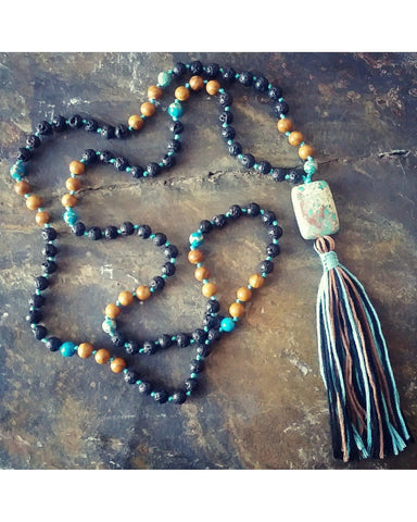 Boho~Tassel~Mala Style Essential Oil Diffuser Necklace: Mixed Jasper Semi-Precious Gemstone and Lava Rock 6mm Beads  L027 - Essentially Elegant