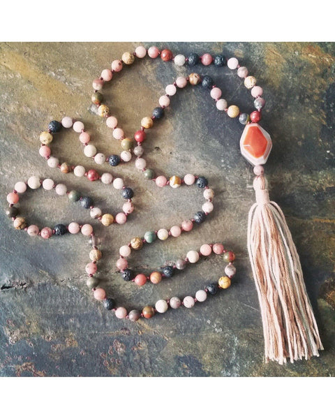 Boho~Tassel~Mala Style Essential Oil Diffuser Necklace: Mixed Jasper Semi-Precious Gemstone and Lava 6mm  L029 - Essentially Elegant