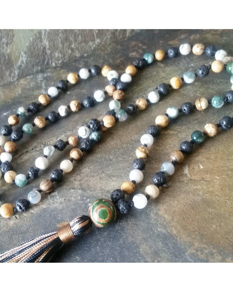 Boho~Tassel~Mala Style Essential Oil Aromatherapy Diffuser Long Necklace: Mixed Semi-Precious Gemstone and Lava Rock 6mm Beads  L030 - Essentially Elegant