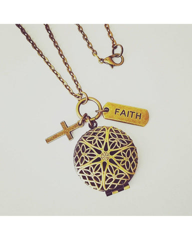 Faith Inspired Essential Oil Aromatherapy Diffuser Locket Necklace: Choose Antique Bronze, Shiny Silver, or Platinum/Matte Silver C067 - Essentially Elegant