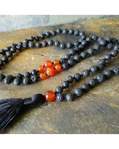 Boho~Tassel~Mala~Yoga Style Essential Oil Diffuser Necklace: Orange Agate Semi-Precious Gemstone & Lava 6mm Bead L039 - Essentially Elegant
