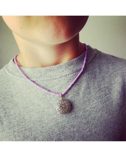 Girls/Boys/Kids Lilac Purple Mini Diffuser 20mm Mini Sunburst Locket Essential Oil Aromatherapy Diffuser Locket Beaded Necklace K051 - Essentially Elegant