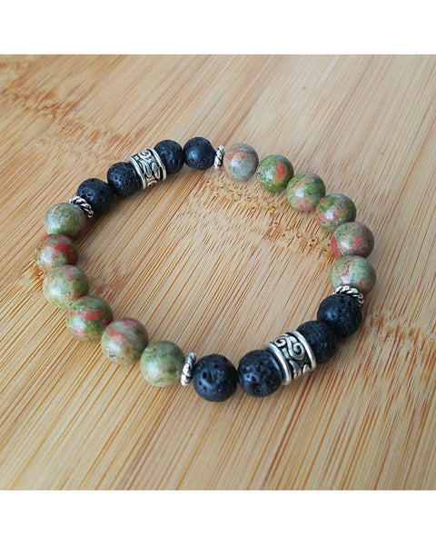 Unakite Semi-Precious Gemstone and Lava Rock 8mm Bead Essential Oil Aromatherapy Diffuser Stretch Bracelet P056 - Essentially Elegant