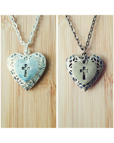 Faith Inspired Cross Charm and Heart Locket Essential Oil Diffuser Necklace: Choose Antique Bronze, Shiny Silver, Platinum/Matte Silver C069 - Essentially Elegant