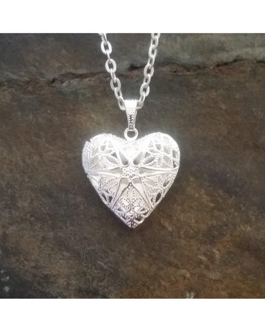 Shiny Silver Color Sunburst Heart Locket Pendant Essential Oil Aromatherapy Diffuser Necklace A056 - Essentially Elegant