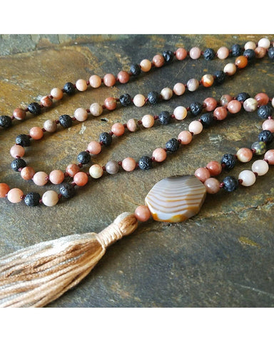 Boho~Tassel~Mala Style Essential Oil Diffuser Necklace: Mixed Jasper Semi-Precious Gemstone and Lava Rock 6mm Beads  L033 - Essentially Elegant