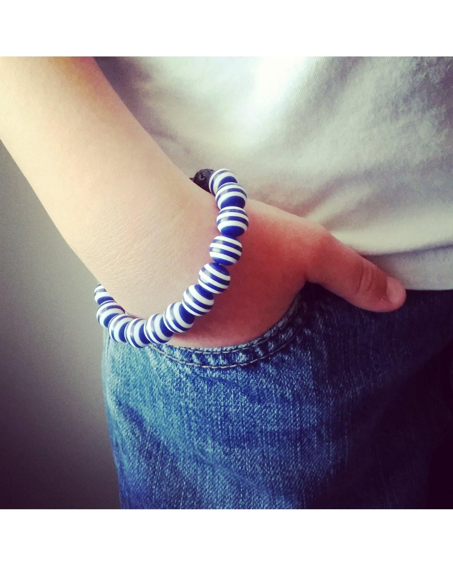 Girls/Kids/Boys Blue and White Striped and Lava Rock 10mm Bead Essential Oil Aromatherapy Diffuser Stretch Bracelet K034 - Essentially Elegant