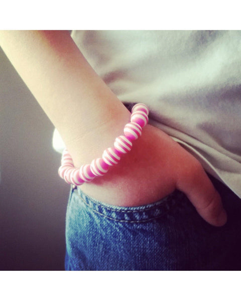 Girls/Kids/Boys Hot Pink and White Striped and Lava Rock 10mm Bead Essential Oil Aromatherapy Diffuser Stretch Bracelet K037 - Essentially Elegant