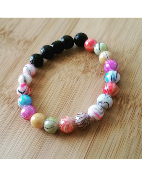 Girl's/Kids/Boys Fun Mixed Color 7mm Bead and Lava Rock 8mm Bead Essential Oil Aromatherapy Diffuser Stretch Bracelet K039 - Essentially Elegant