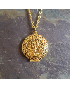 Tree of Life Inspired Antique Gold Round Sunburst Locket Pendant Essential Oil Aromatherapy Diffuser Necklace C057 - Essentially Elegant