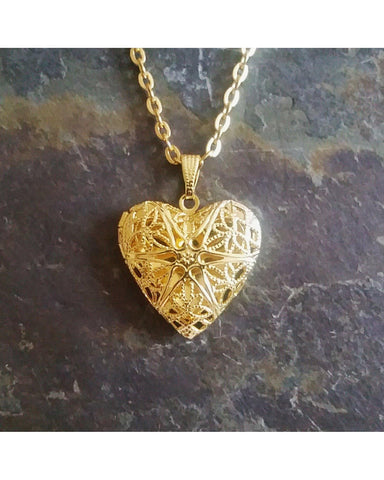 Antique Gold Color Sunburst Heart Locket Pendant Essential Oil Aromatherapy Diffuser Necklace A069 - Essentially Elegant