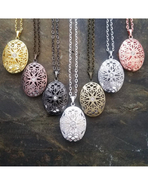 Mixed Colors Distributor Bulk Wholesale Seven (7) Piece Sunburst Oval Locket Pendant Essential Oil Aromatherapy Diffuser Necklaces B098 - Essentially Elegant