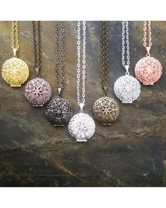 Mixed Colors Distributor Bulk Wholesale Seven (7) Piece Sunburst Round Locket Pendant Essential Oil Aromatherapy Diffuser Necklaces B097 - Essentially Elegant