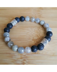 Labradorite Faceted Semi-Precious Gemstone & Lava Rock 8mm Bead Essential Oil Aromatherapy Diffuser Stretch Bracelet P041 - Essentially Elegant