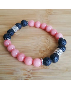 Pink Opal Jade Faceted Semi-Precious Gemstone and Lava Rock 8mm Bead Essential Oil Diffuser Stretch Bracelet P043 - Essentially Elegant