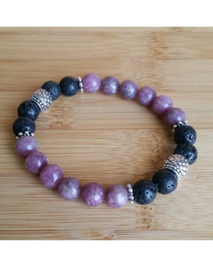 Tourmaline Semi-Precious Gemstone and Lava Rock 8mm Bead Essential Oil Aromatherapy Diffuser Stretch Bracelet P046 - Essentially Elegant