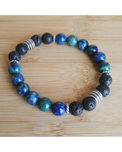 Lapis Lazuli Malachite Mixed Color SemiPrecious Gemstone & Lava Rock 8mm Bead Essential Oil Diffuser Stretch Bracelet P048 - Essentially Elegant
