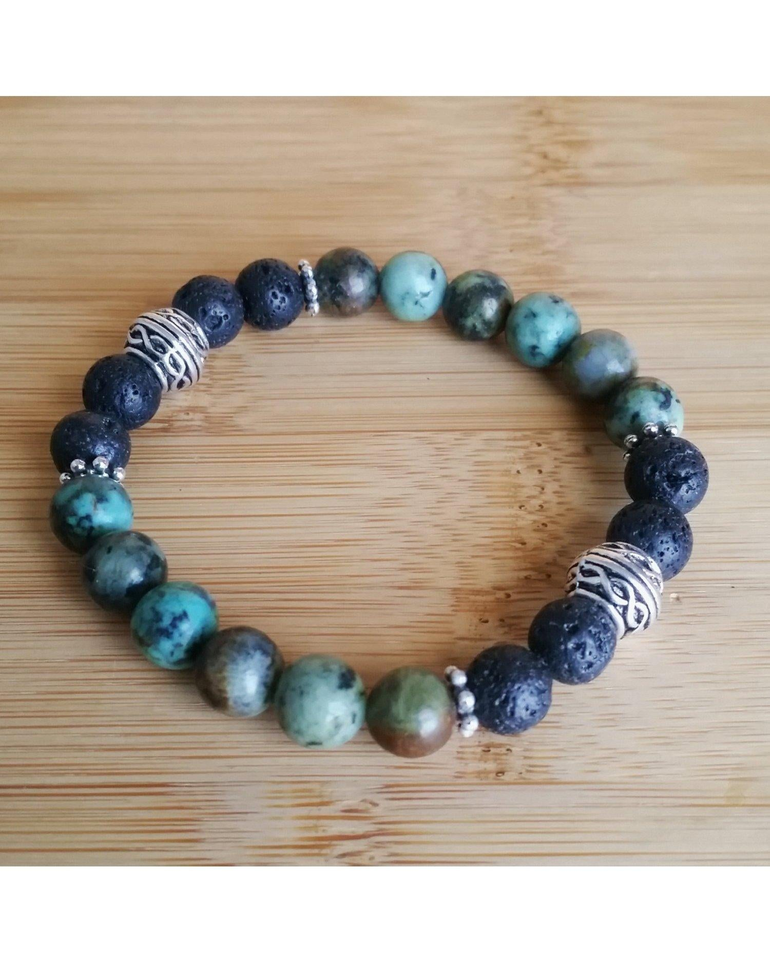 African Turquoise Mixed Color Semi-Precious Gemstone and Lava Rock 8mm Bead Essential Oil Diffuser Stretch Bracelet P049 - Essentially Elegant