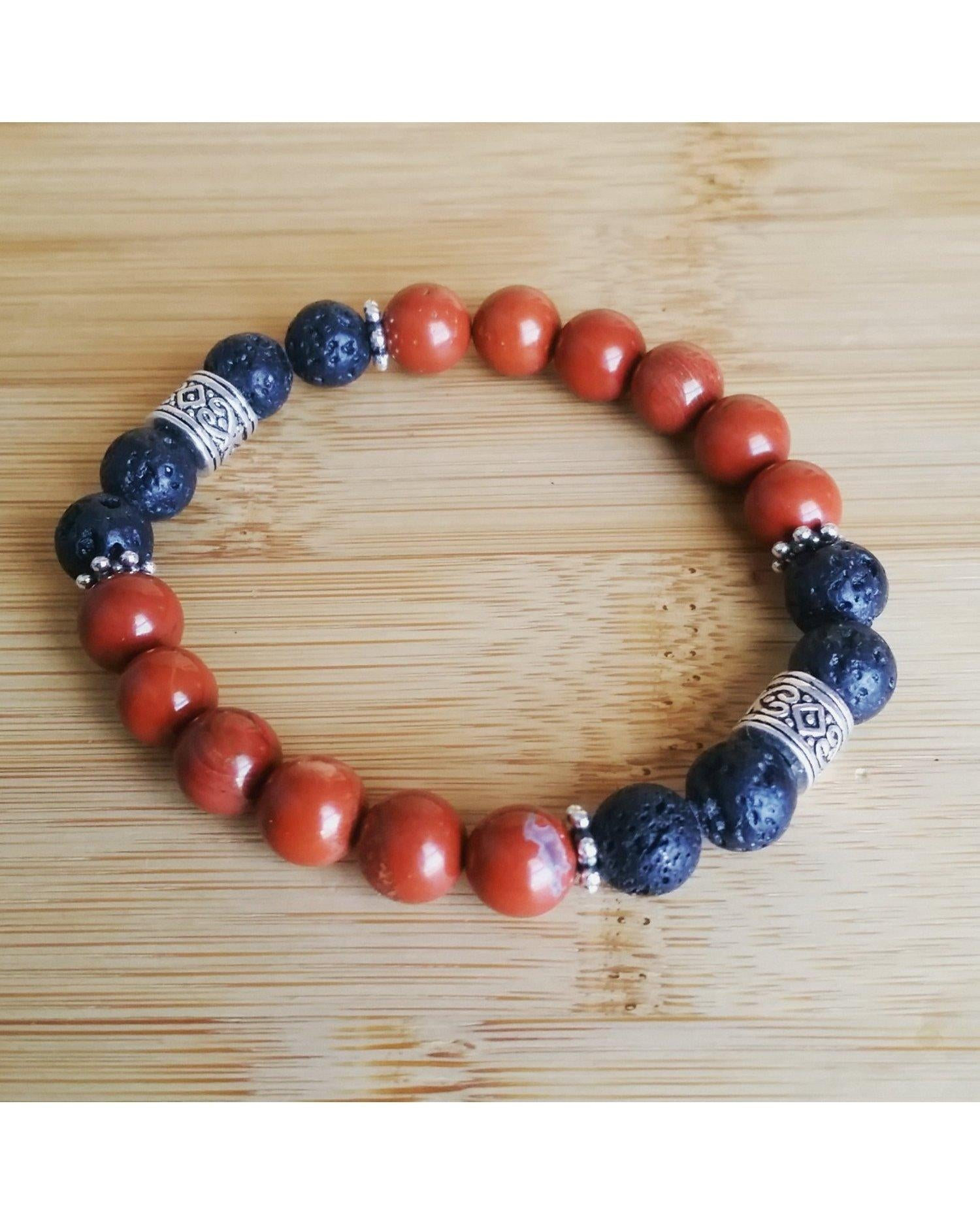 Terra Cotta Red Jasper Semi-Precious Gemstone and Lava Rock 8mm Bead Essential Oil Diffuser Stretch Bracelet P050 - Essentially Elegant