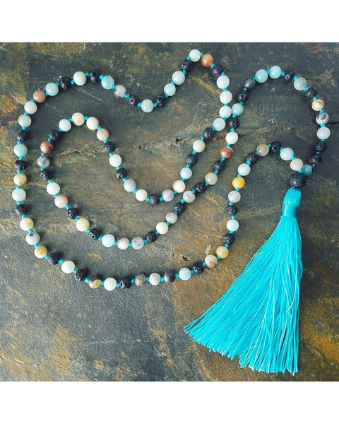Boho Style Mixed Color Amazonite Semi-Precious Gemstone & Lava Rock 6mm Bead Essential Oil Diffuser Necklace L053 - Essentially Elegant