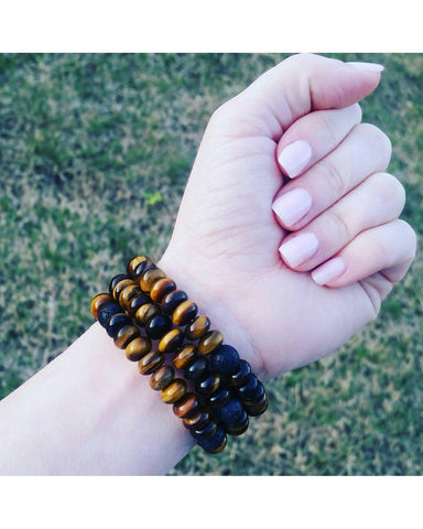 Tiger's Eye Rondelle Semi-Precious Gemstone and Lava Rock Bead Essential Oil Aromatherapy Diffuser Wrap Style Bracelet P026 - Essentially Elegant