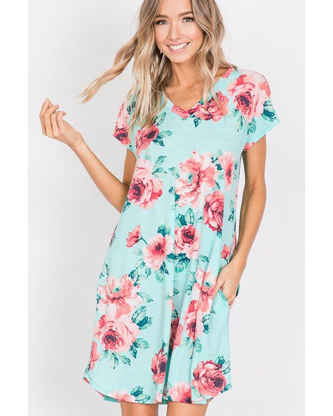 Coming Soon! Pocket Full of Petals Short Sleeve Floral Print Dress in Mint - Essentially Elegant