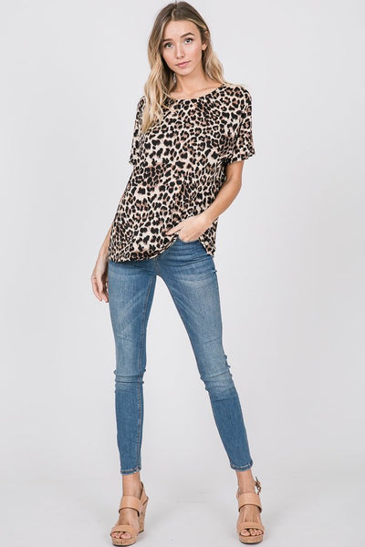 Sugar and Spice Short Sleeve Open Back Top in Leopard Animal Print - Essentially Elegant