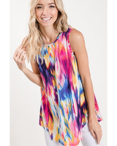 Tie Dye For Rainbow Print Sleeveless Top - Essentially Elegant