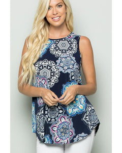 The Good Life Navy Print Sleeveless Top