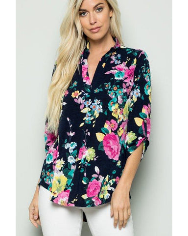 Right Here Waiting Floral Print 3/4 Roll Up Sleeve Top - Essentially Elegant