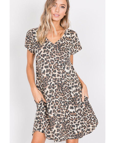 Coming Soon! On Point Short Sleeve Leopard Animal Print Dress - Essentially Elegant