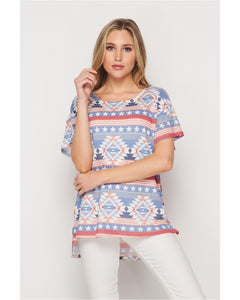 New Arrival! Bold and Beautiful Soft Waffle Knit Print Top by HoneyMe