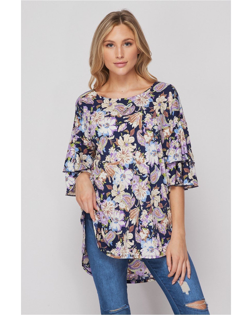 New Arrival! Flower Garden Double Ruffle Sleeve Floral Print Top by HoneyMe